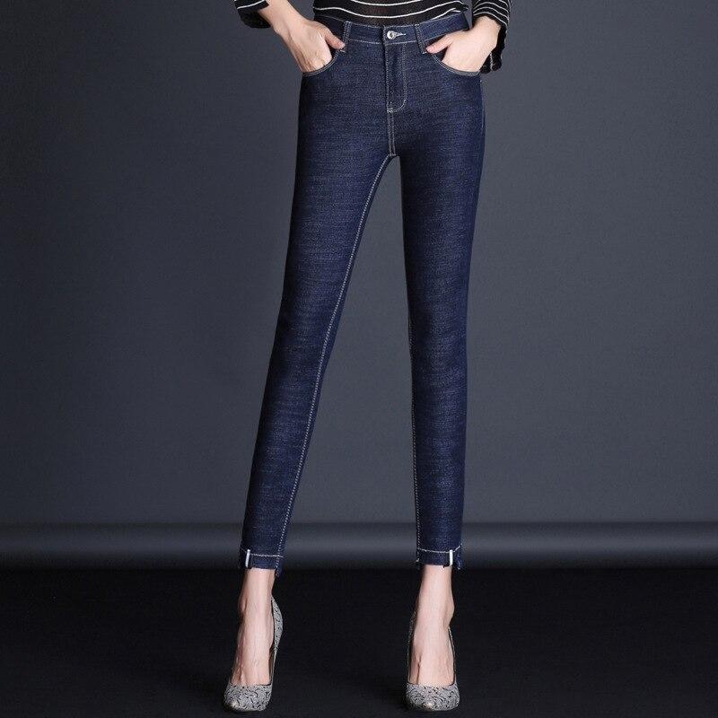 Джинсы для мам 2018 г. женские зимние джинсы с высокой талией красные хлопковые узкие джинсы Узкие рваные джинсы для женщин дизайн 1FH001-017