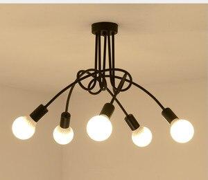 Image 2 - Sıcak Vintage endüstriyel Loft avize tavan lambası 5 ışıkları (siyah) ampuller dahil değildir