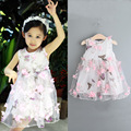 New 2016 Summer Girl's sleeveless dress stereo butterfly print  vest flower dress
