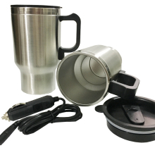 12V Car Heating Cup Electric Kettle Cars Thermal Heater Cups Boiling Water Bottle Car Coffee Cup Auto Adapter 450 ML dmwd 750ml car heating cup auto 12v 24v stainless steel electric kettle travel heated coffee hot water boiling thermal heater