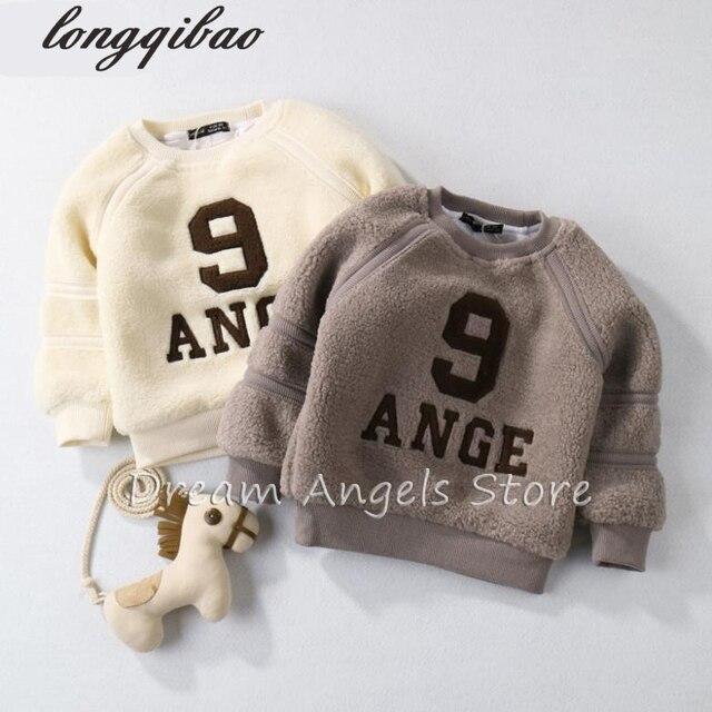 Высокое качество 2017 Ребенок Футболка Детская Одежда Буквы печати Теплый Пуловер Толщиной Baby Boy Девушки Одежда Футболка 06