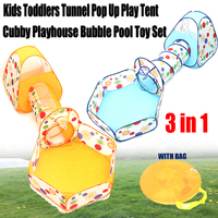 Kids Toddlers Tunnel Pop Up Play Tent Cubby Playhouse Indoor Outdoor Toy Set with Storing Bag Children Garden Outdoor Fun Sports
