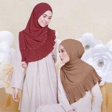 Шарф для женщин из шифона 72*185 см шарф головы с жемчугом шали
