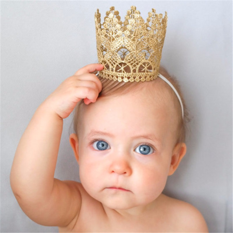 Hot Artificial Elegant Infant Nyfødt Mini Felt Glitter Gold Lace Crown Headbands For Baby Girls DIY Håndværk Hår Tilbehør