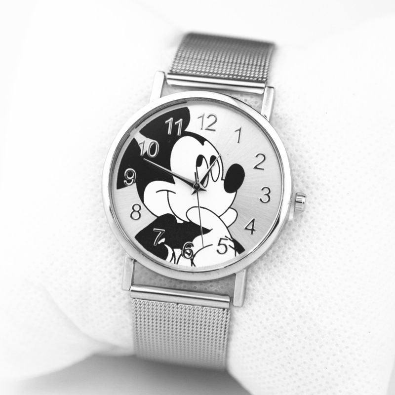 New  Mickey Fashion Brand Watches New Cartoon Women Quartz Watch Lady Stainless Steel Ladies Dress Watches Kobiet Zegarka