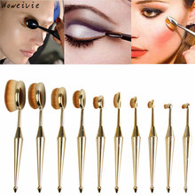 High Quality 10PCS Fashion Gold Toothbrush The New Mermaid Makeup Brush Foundation Oval Brushes One Set Free Shipping