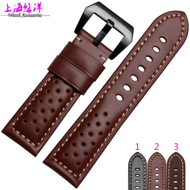 2016 Genuine Leather Watch Band Strap for P Watch 22mm 24mm 26mm With Silver Stainless steel Buckles  20mm 22mm 24mm genuine leather watch band strap watch with black buckles black