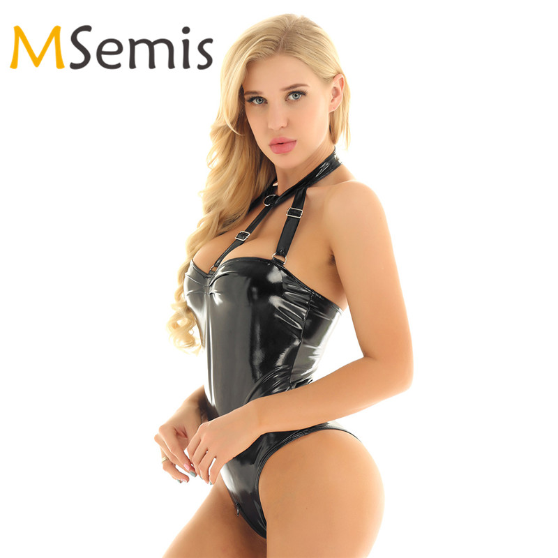 MSemis Womens Wet Look 2 Pieces French Maid Outfit Halter Neck Backless Bodysuit Jumpsuit with Apron