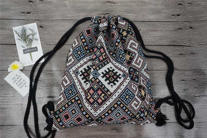 HTB1.Gm.aOCYBuNkHFCcq6AHtVXa3 LilyHood Women Fabric Backpack Female Gypsy Bohemian Boho Chic Aztec Ibiza Tribal Ethnic Ibiza Brown Drawstring Rucksack Bags