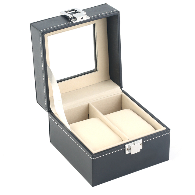 OUTAD Luxury Plain Pattern 2 Grid PU Leather Watch Display Box Case Storage Boxes Luxury Gift Caixa Para Relogio New Arrivals