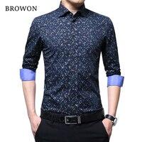BROWON Spring Autumn 2017 Brand Luxury Men Shirt 100 Cotton Print Design Long Sleeve Slim Shirt