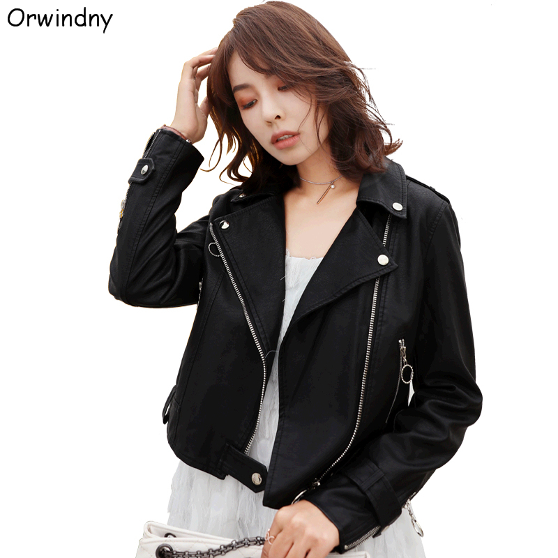 Orwindny Motorcycle   Leather   Jacket Women Epaulette   Leather   Coat Slim Casual Female Zipper Biker   Suede   Black
