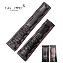 CARLYWET 22mm Wholesale Fashion Black High Quality Cowhide Genuine Real Leather Replacement Watch Band Strap Belt
