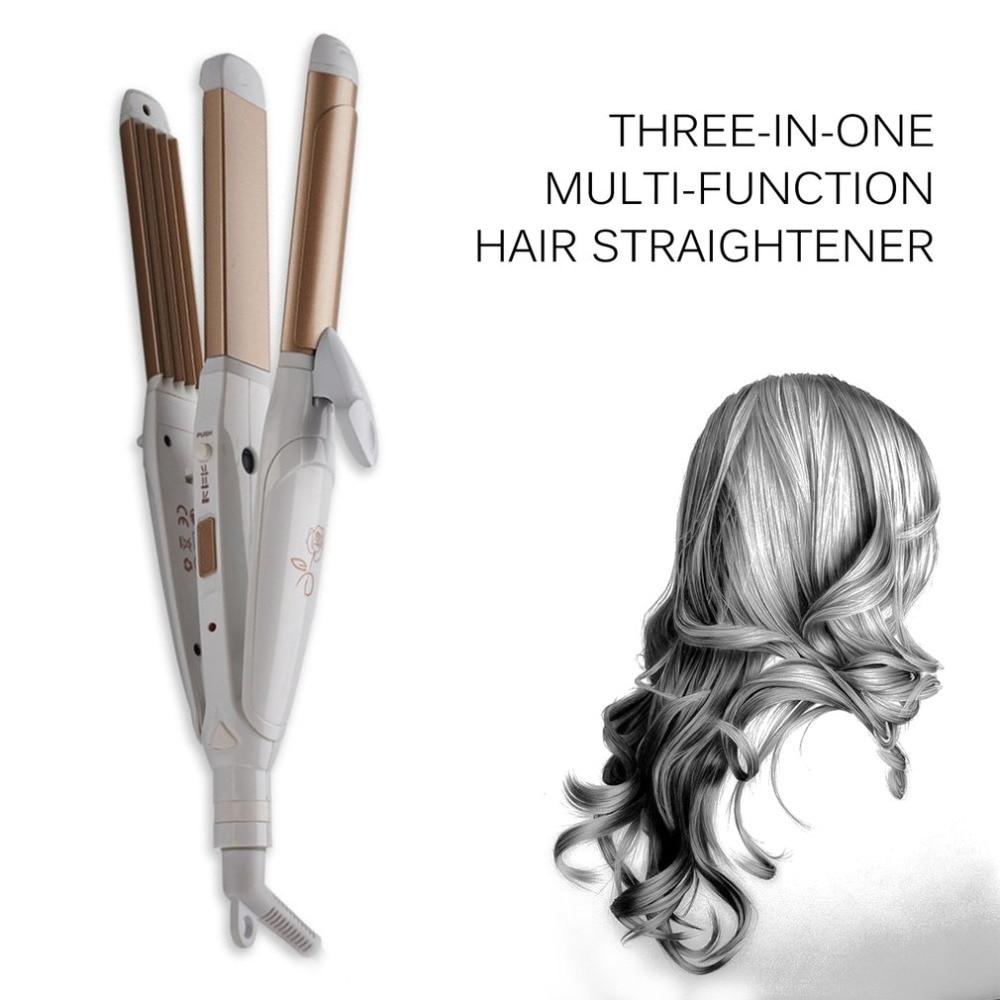 3 In 1 Multifunctional Hair Straightener Hair Curling Iron Multifunction Corrugated Flat Iron Corn Plate Heated Roller