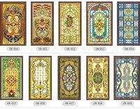 Custom No glue electrostatic scrubs translucent church stained glass windows and doors wardrobe furniture foil stickers 76x120cm