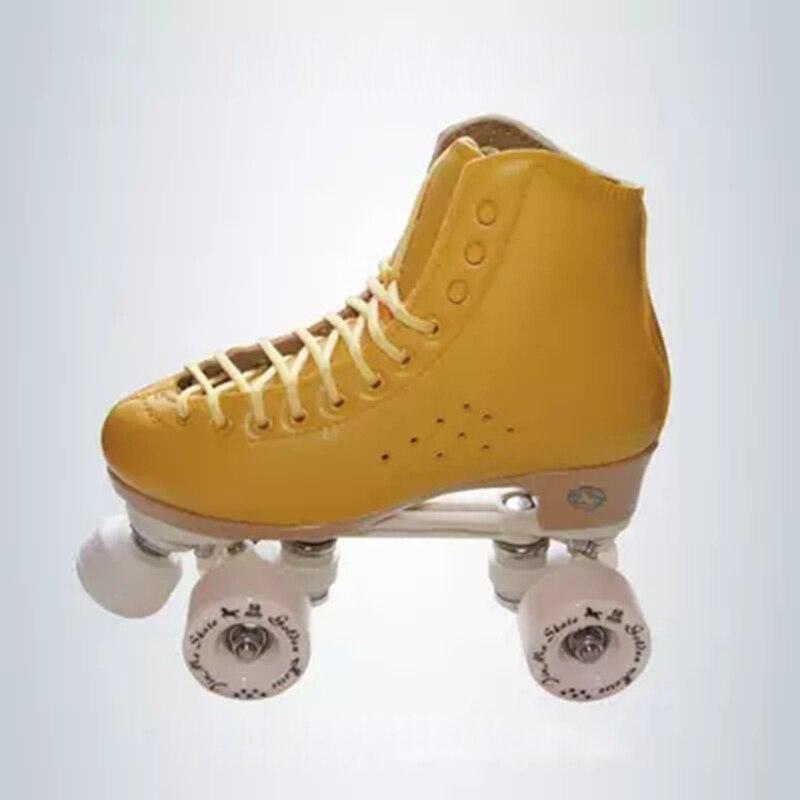 Image 4 - Original Golden Horse Professional Roller Skates two Line Shoes Double Row Skating PU Wheel Cowhide Leather Plastic Steel PlateSkate Shoes   -