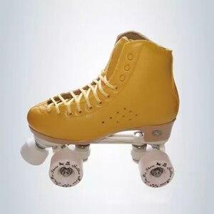 Image 4 - 원래 골든 호스 전문 롤러 스케이트 두 라인 신발 더블 행 스케이트 PU 휠 쇠가죽 채찍으로 치다 가죽 플라스틱 강판