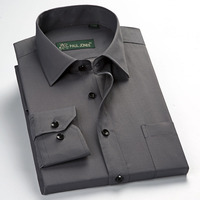Hot koop 2018 S ~ 5XL Lange mouwen kraagvorm regelmatige goed fit solid twill/plain soft gemakkelijk zorg mannen werk jurk shirts