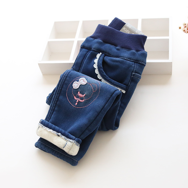 Autumn Winter Baby Girls Wam Denim Jeans Girls Thick Winter EmbroideryJeans Kids Winter Trousers Child Warm Long Pants стоимость