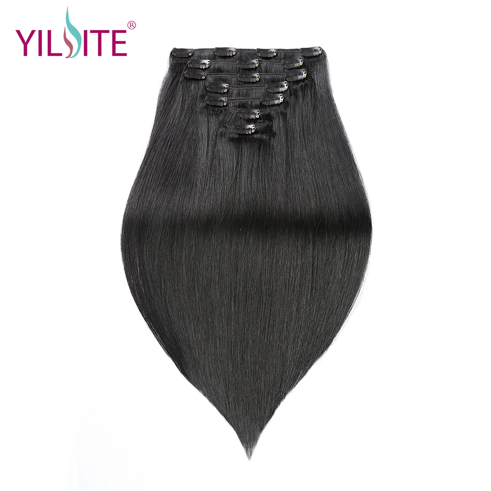 YILITE Natural Black Double Drawn Remy Indian Clips In Human Hair Extensions, 18inch Clips In Straight Human Hair Extension