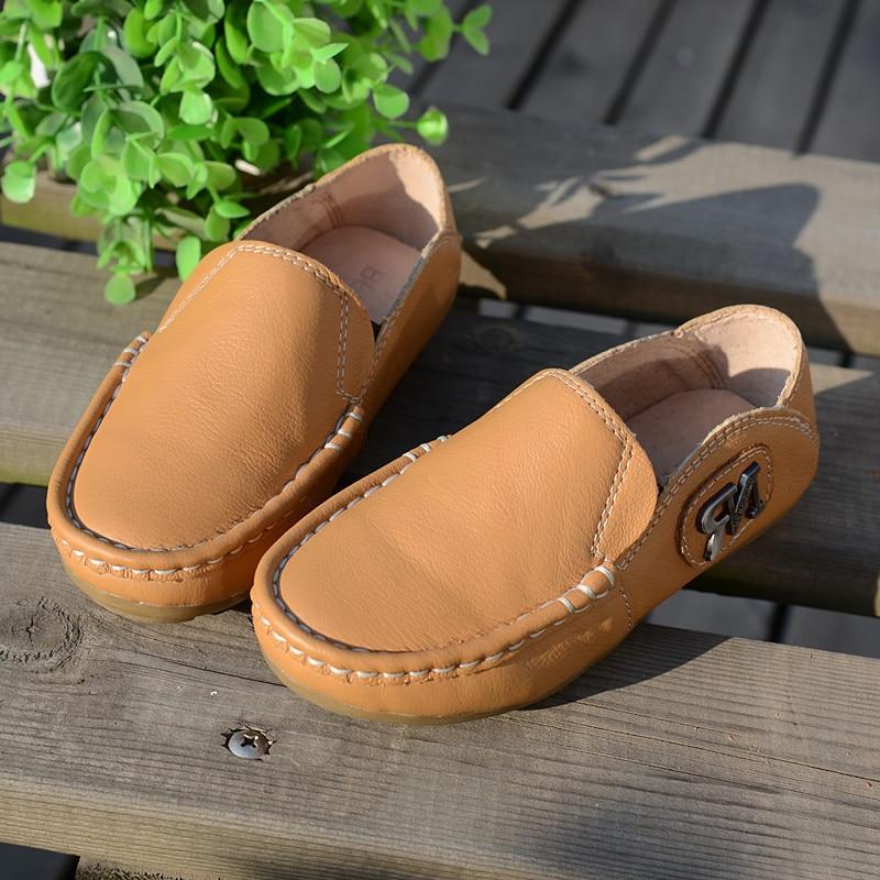 Zapatos de cuero de cuero genuino para niños Zapatos mocasín-gommino para niños Zapatos escolares para niños Zapatillas antideslizantes para niños