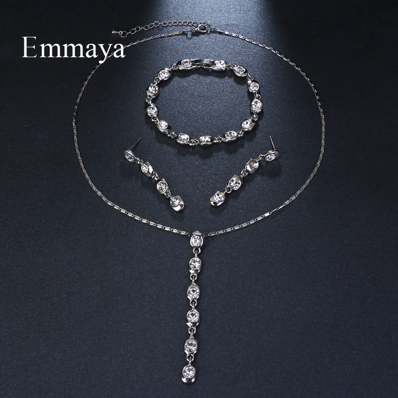 Emmaya Brand Simple Charm Geometric Jewelry Adjustable AAA Cubic Zircon Wedding Jewelry Sets For Lover Brides Jewelry Party Gift
