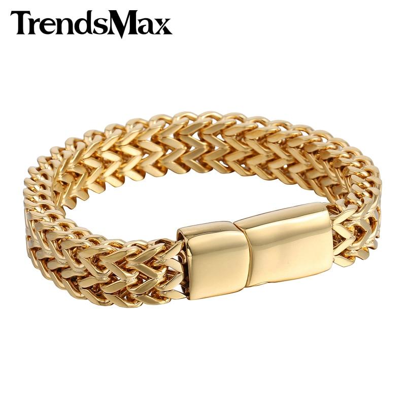 45d045babd677 Bracelets hommes Hip Hop grand or argent noir Foxtail Link 316L Bracelet en acier  inoxydable pour bijoux masculins en gros 12mm KHB246 - BERRIZ.GA