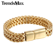 Trendsmax 12mm Men's Bracelet 316L Stainless Steel Bracelet for Men Gold Silver Black Foxtail Link Gift Jewelry HB246
