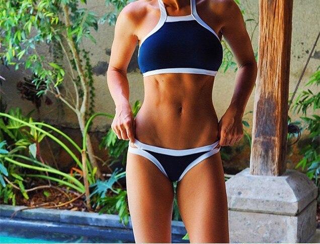 2017 Navy Blue Black Sexy Cropped High Neck Bikini Set Swimwear Swimsuit Bathing Suit Women Tank Monokini maillot de bain E926 page swimsuit sw0670 navy mult
