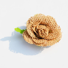 6pcs Natural Jute Hessian Flower Decorative Handmade Burlap Rose Vintage DIY Craft Wedding Decoration Christmas Gift Accessories