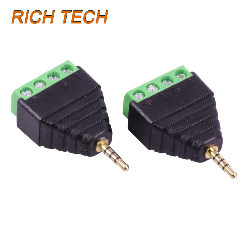15 pcs 4 Pole Stereo Male to AV Screw Terminal Stereo Jack 2.5 mm male 4 pin Terminal Block Plug connector