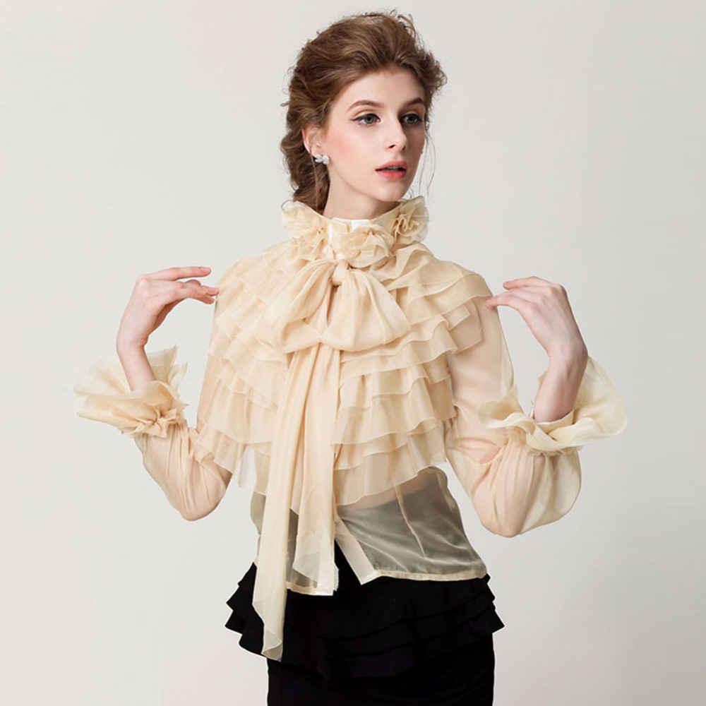 2018 Women Blouses Slik Lace Shirt Tops Vintage Runway ...