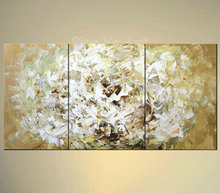 3 piece abstract modern canvas wall art decorative golden rose picture knife oil painting on canvas for living room home decor
