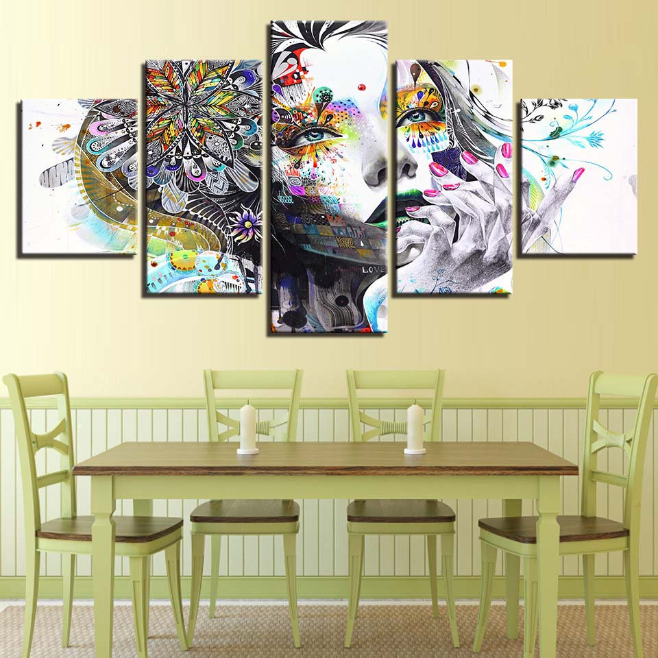 Canvas Wall Art Pictures Modern Framework Living Room 5 Pieces ...