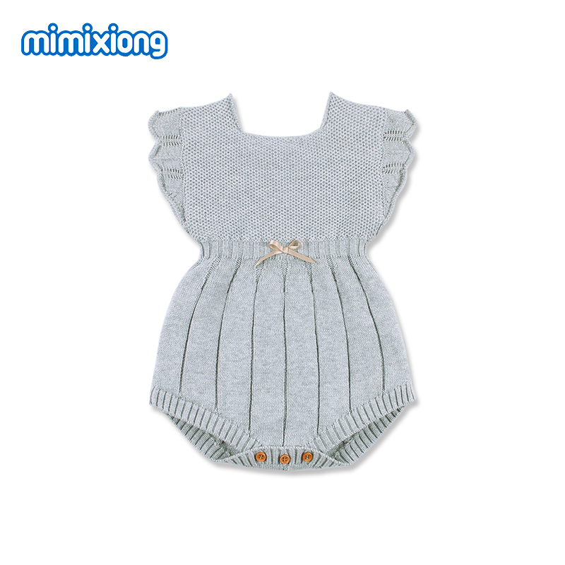 Baby Bodysuits Fashion Solid Color Newborns Girl Knitted Clothes Grey Sleeveless Infant Bebes Onesie Tops Toddler Kids Jumpsuits