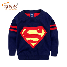 New 2015 Boys Sweaters Superman Printing Pullover Knit Spring&Autumn Children Clothing Kids Clothes Free Shipping