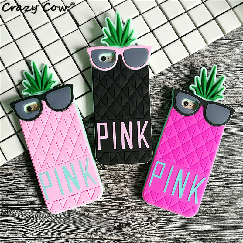 Crazy Cow 3D <font><b>Pink</b></font> Letter Luxury <font><b>Pineapple</b></font> <font><b>Glasses</b></font> Woman Cover Funda Coque Soft <font><b>Silicone</b></font> Phone <font><b>Cases</b></font> <font><b>For</b></font> <font><b>iPhone</b></font> 5 5s Se 6 6s Plus