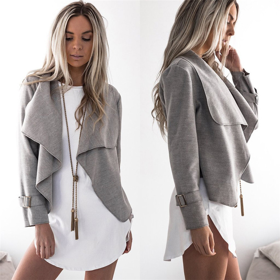 New Style Womens Coat Wool Long Sleeve Casual Tops -5646