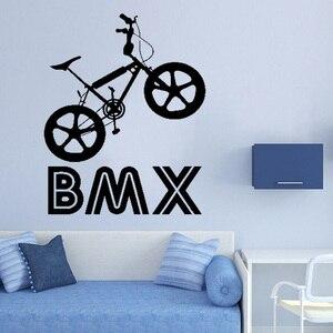Виниловый художественный съемный постер росписи Bmx велосипед Спорт велосипед скачок для верховой езды настенный стикер для мальчиков комн...