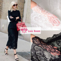 3 meters Stretch eyelashes lace fabric white black wedding embroidery skirt fabric wedding background curtains decorated