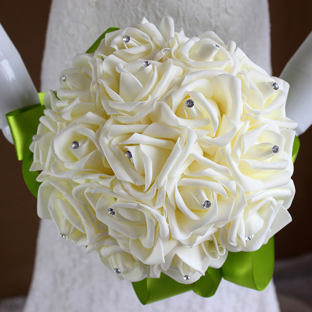 2016 Artificial Foamflower Bridesmaid Wedding Bouquet Crystal Pearls Satin Bridal Bouquet Rose Flowers Bride Bouquet  F06