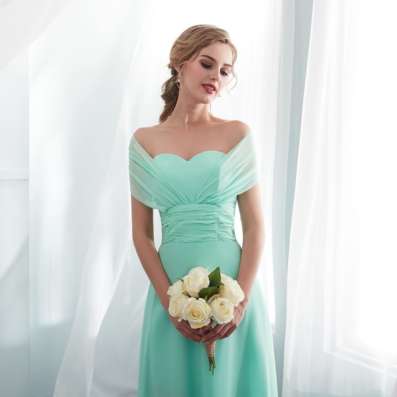 Customize Size Color Bridesmaid Dress Long 2019 New Design Bridal Shower Chiffon Wedding Party Wearing Formal Junior Prom Dress in Evening Dresses from Weddings Events