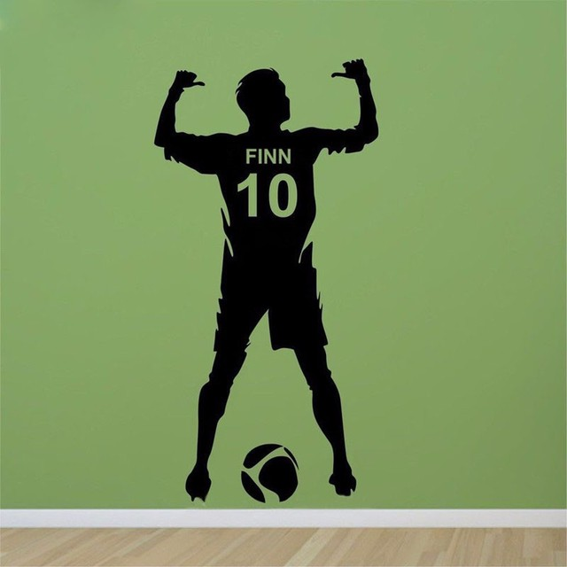 Football Personalized Name & Number Vinyl Wall Decal Poster Wall Art Decor-Kids & Boy Bedroom Soccer Wall Sticker decoration