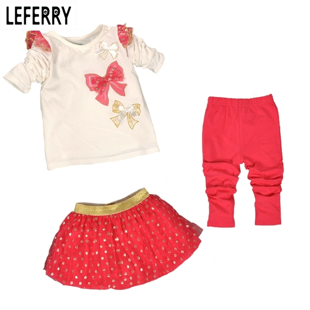 3PCS Kids Clothes Girls Clothing Sets Baby Clothes High Quality Toddler Girl Clothing Birthday Girl Outfits Christmas 2016 New