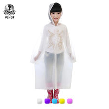 FGHGF Transparent Kids Raincoat Girl Children Rain Coat Waterproof Boy Capa Wiche Eva Backpack Rain Cover Poncho Rainwear(China)