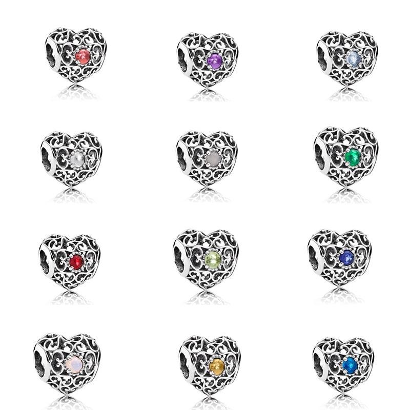 S925 Sterling Argent Amour Creux Perles Bijoux Accessoires Convient Pandora Charm Bracelet BRICOLAGE Amende Initiale Bijoux Cadeau Femme