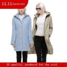 Mulheres de outono e inverno casaco de médio-longo com um capuz feminina outerwear plus size 48-58 Para a Europa ea Rússia azul, Cáqui e bege casaco