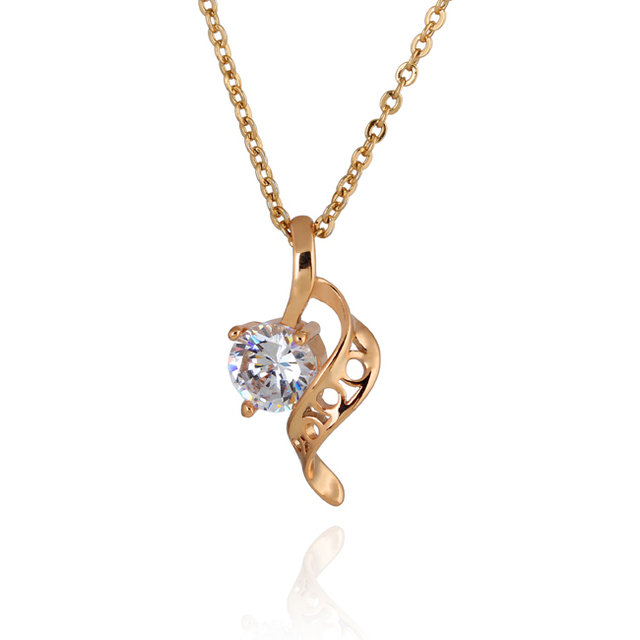 Fashion design 18k rose gold with big clear cz waves pendant chain fashion design 18k rose gold with big clear cz waves pendant chain necklace charm for women aloadofball Choice Image