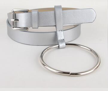 HOT Newest Design Women waist belt Lovely women's big ring decorated belts female fashion gold pin buckle solid PU leather strap 5
