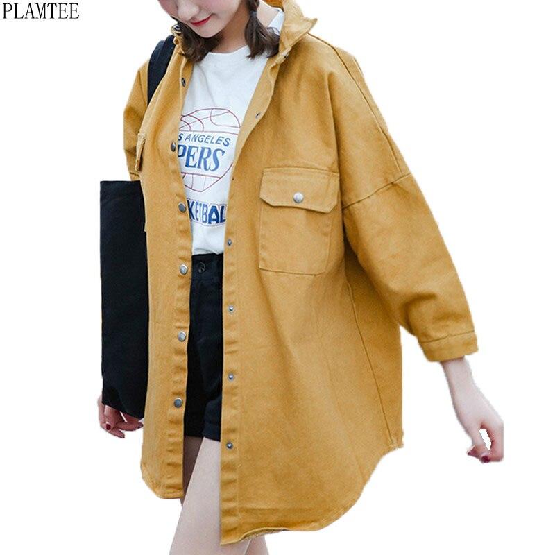 Plamtee color sólido larga femenina primavera chaqueta vintage de manga larga ca